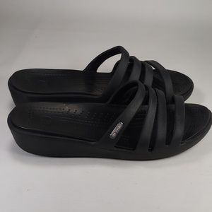 Crocs Slip On Sandals Black Size 7 w